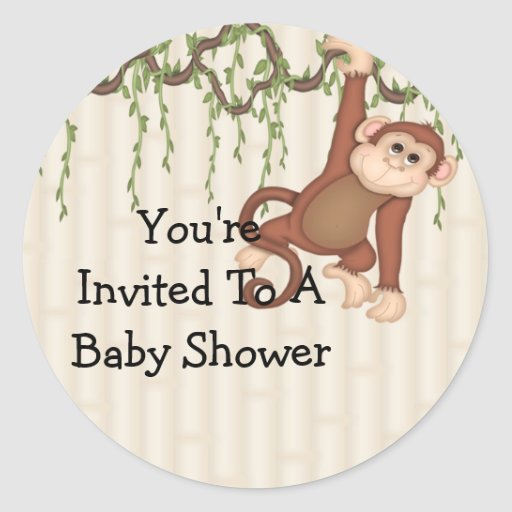you 39 re invited monkey baby shower classic round sticker zazzle