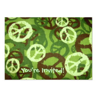 You're Invited!-Multi Dark Peace Signs Invite