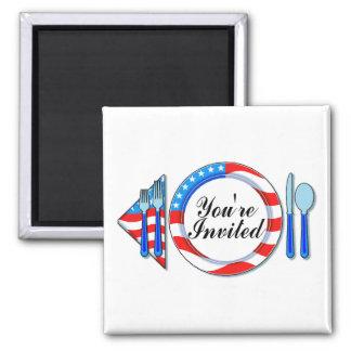 Youre Invited Patriotic Design 2 Inch Square Magnet