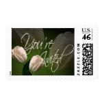 You're Invited Peach Tulip Wedding Invitation Stamp