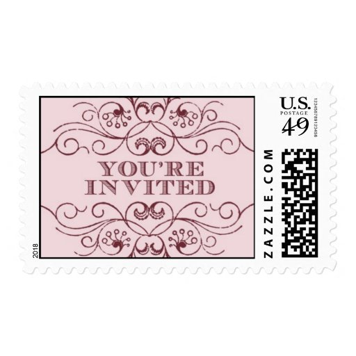You're Invited pink 2 by Ceci New York Postage Stamps