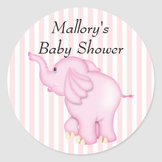 You're Invited Pink Elephant Baby Shower Classic Round Sticker