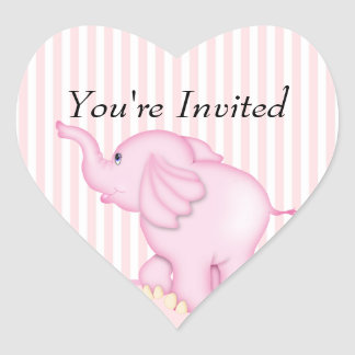 You're Invited Pink Elephant Baby Shower Heart Stickers