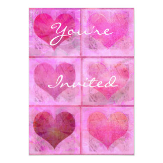 You're Invited Pink Hearts Invitation
