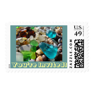 You're Invited! postage stamps Beach Sea Glass