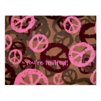 You're Invited! Postcard-Pink Peace Sign Design