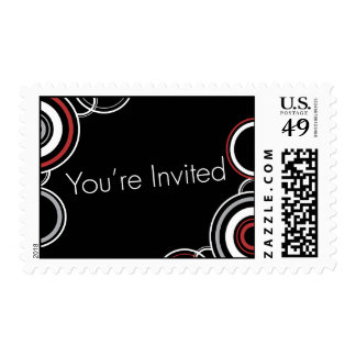You're Invited - Red & Black Circles Stamp