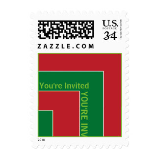 You're Invited Red/Green Color Corner (MB) Postage Stamps