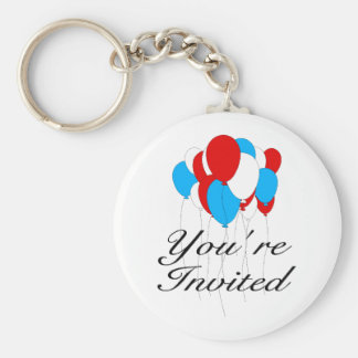 You're Invited (Red White Blue Balloons) Keychain