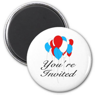 You're Invited Red White Blue Balloons 2 Inch Round Magnet