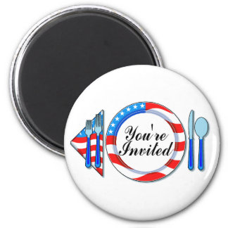 Youre Invited (Red White Blue) 2 Inch Round Magnet