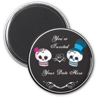 You're Invited Skull Couple 2 Inch Round Magnet
