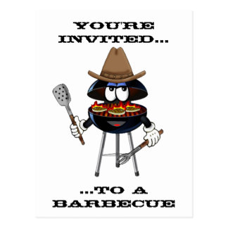You're Invited to a Barbecue Western Postcard