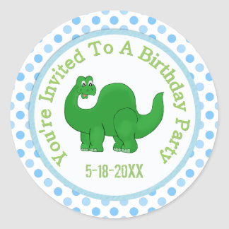 You're Invited To A Birthday Party: Dino Stickers
