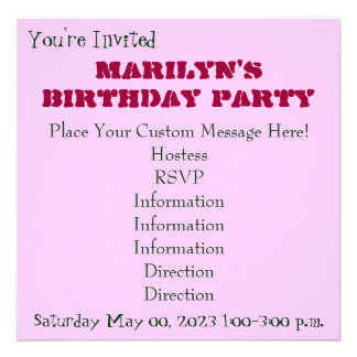 You're Invited to a Birthday Party! Pink custom Personalized Announcement