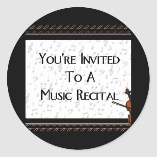 You're Invited To A Music Recital Classic Round Sticker