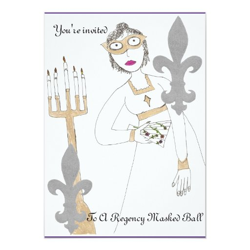 You're invited to a Regency masked Ball 5x7 Paper Invitation Card