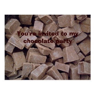 You're invited to my chocolate party postcard