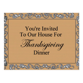 You're Invited To Our House For Thanksgiving Dinne Postcard