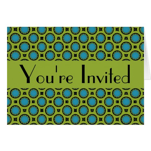 you're invited Turquoise Green Circles Stationery Note Card
