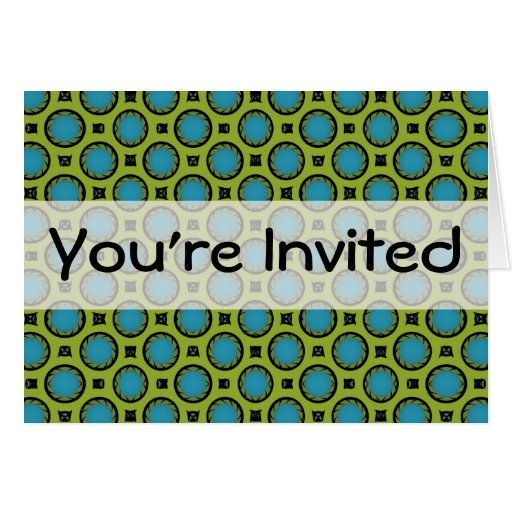 You're Invited Turquoise Green Circles Card