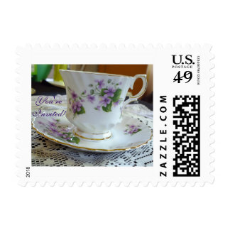 """You're Invited"" Violets Tea Cup Postage"
