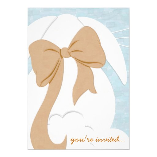 You're Invited White Bunny with Brown Bow Invite