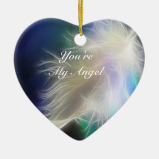 You're my Angel! Double-Sided Heart Ceramic Christmas Ornament