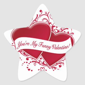 You're My Funny Valentine! Red Hearts Star Sticker