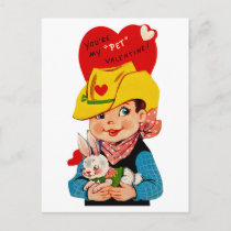 "You're My ""Pet"" Valentine Cowboy Holiday Postcard"
