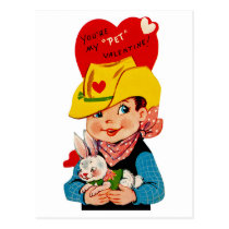 "You're My ""Pet"" Valentine Cowboy Postcard"
