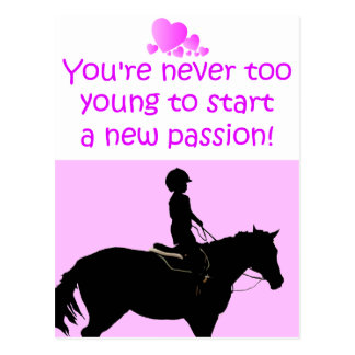 You're Never Too Young Horse Postcard