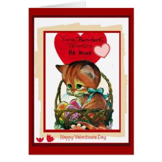 You're Purr-fect Valentine Vivtage Card