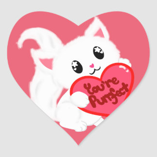 You're Purrfect Kitty Heart Sticker