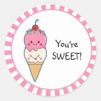 You're Sweet Ice Cream Round Stickers