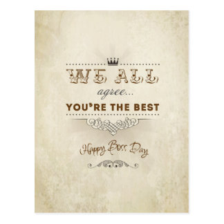 You're the best, Happy Boss's Day Postcard