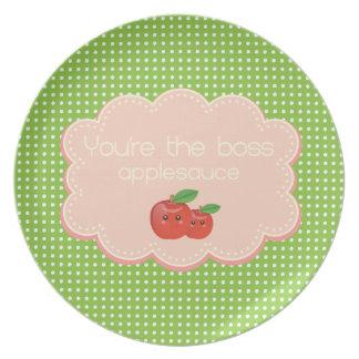 You're the boss, applesauce! dinner plate
