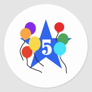 You're the Star 5th Birthday Classic Round Sticker