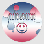 You're Welcome! America Flag Colors Pop Art Round Sticker