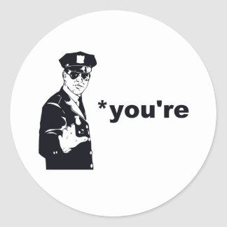 You're Your Grammar Police Classic Round Sticker