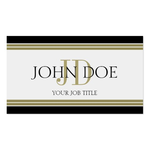 YourJobTitle Black Gold Stripes Business Card Template