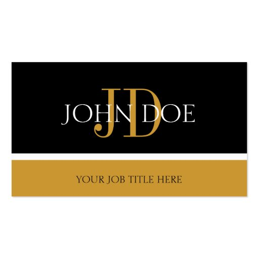 YourJobTitle Monogram Black/Yellow Gold Business Card Templates