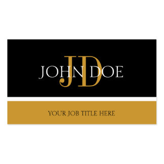 YourJobTitle Monogram Black/Yellow Gold Double-Sided Standard Business Cards (Pack Of 100)