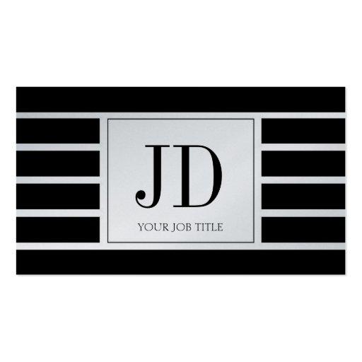 YourJobTitle Monogram/Striped/Black/Platinum Business Card Template