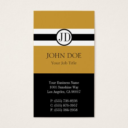 Professional Pendant Gold and Black Monogram Accounting Business Cards
