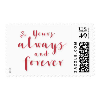 Yours Always And Forever White Red Postage Stamps