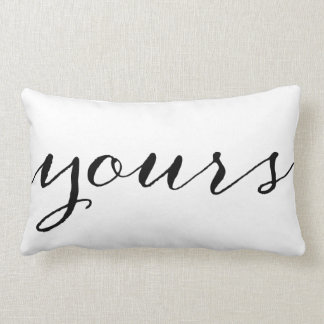Yours and Mine Cute Wedding Keepsake Newlywed Gift Lumbar Pillow