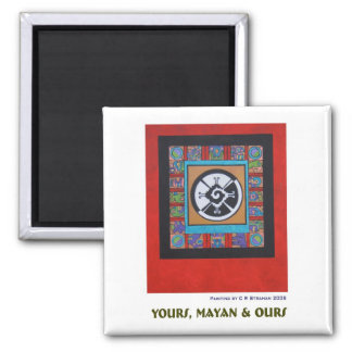 Yours, Mayan & Ours Z 2 Inch Square Magnet