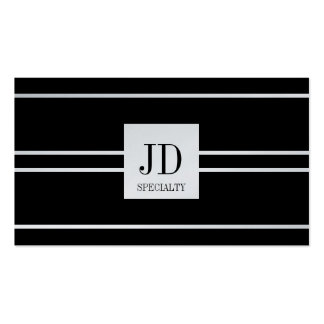 YourSpecialty Black Striped Pendant Platinum Paper Double-Sided Standard Business Cards (Pack Of 100)