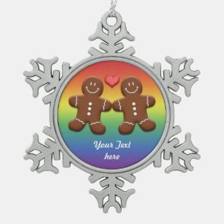 YourText Gingerbread Men Couple Snowflake Ornament